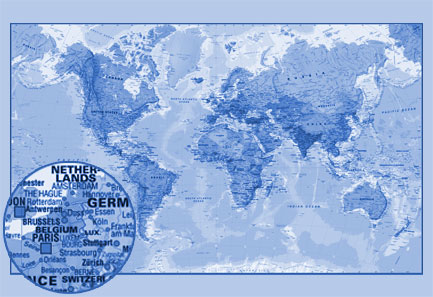 Blacesprodor world map wallpaper mural for Blue world map wall mural