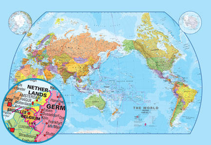 Political world map environmental world map pacific world map 130m scale political pacific world map printed onto pre pasted wallpaper 364cms wide x 250cms high 142 wide x 98 high gumiabroncs Choice Image