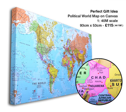 Printed Space: Canvas World Map