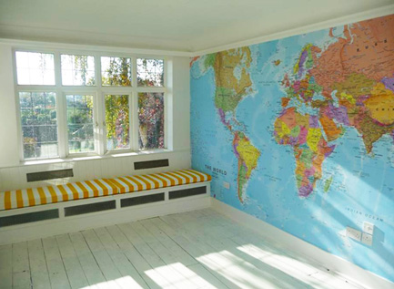 world map wallpaper mural. 1:20M scale world map printed